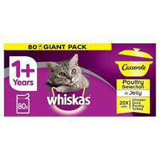 80x85g Whiskas Casserole 1+ Adult Wet Cat Food Pouches Poultry in Jelly