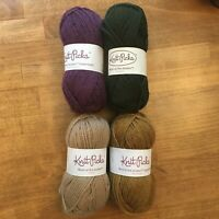 Lot 4 Skeins Knit Picks Wool of the Andes and Superwash Approx 50 g Each Destash