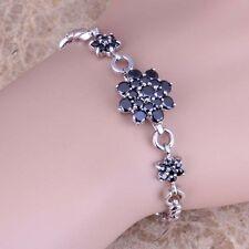 Black Sapphire Silver Link Chain Bracelet 7 - 8 inch For Women S0649
