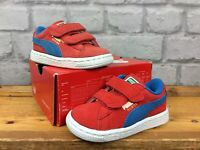 PUMA CHILDRENS UK 4 EU 20 CLASSIC RED BLUE HOOK AND LOOP SUEDE TRAINERS LG
