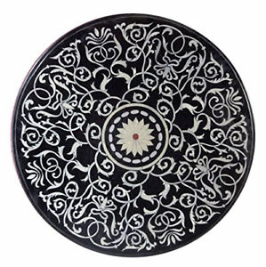 "24"" Marble coffee Table Top Inlay Work semi precious stones Handmade work"