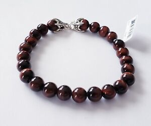David Yurman Mens 8mm Red Tiger's eye beads Bracelet