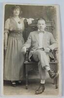 Vintage Real Photo Brown Tone Postcard Elegant Couple & Chair AZO 1910s?