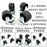 4 x Heavy Duty Ø 18 30 40 mm Swivel or Fixed Castor Wheels Trolley Furniture PVC