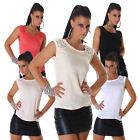 Damen T-Shirt Shirt Top Chiffon Spitze Party Club Mode elegant Sommer S 32 34 36