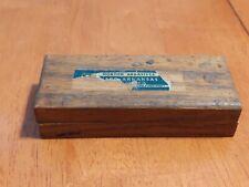 Vtg Norton Abrasives Hard Arkansas Oil Sharpening Stone Wood Case Machinist...