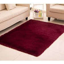 Fluffy tapis anti-dérapant Shaggy Tapis manger Chambre protecteur Claret Red EP