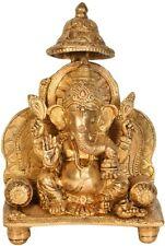 "JAI Golden Ganesha Bless You On Throne Statue 8.2"" Brass Hindu Figure Art 2.3 KG"