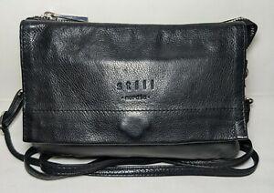 """Still Nordic """"Anouk"""" black genuine leather multi-compartment mini crossbody bag."""