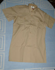"""NEW  short-sleeved Summer poly-cotton Shirt Size 37cm 14.5"""" small Fawn Sand Buff"""