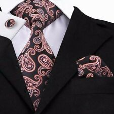 100% Pure Silk Tie Cuff-links & Handkerchief Set Black Orange Silver Paisley