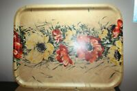 "Vintage Tray Floral Red & Yellow Flowers Hard Plastic-Large-18 3/4"" x 14 3/8"""