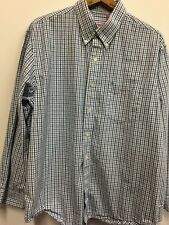 IZOD Navy Blue & Sky Blue Micro Plaid L Button Up Dress Shirt