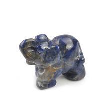 "1.5"" Elephant Natural Carved Crystal Jade Stone Feng Shui Figurine Office Decor"