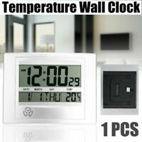 Atomic Digital Indoor LCD Thermometer Temperature Meter Wall Clock Calendar Time
