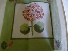 HANDPAINTED NEEDLEPOINT GERANIUM / floral needlepoint pillow Alice Thompson