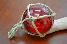 "Reproduction Red Glass Float Ball With Fishing Net 5"" #F-947"