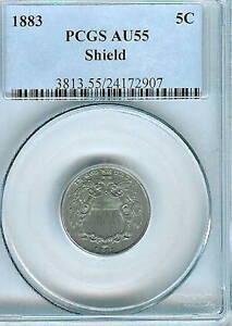 1883 Shield Nickel : PCGS AU55