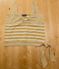 LADIES GOLD & CREAM STRIPED SUN TOP ~ PRINCIPLES ~ SIZE 14