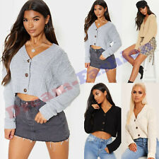 Womens Ladies Chunky Short Cable Knitted Cardigan 3 Button Long Sleeves Crop Top