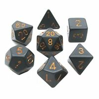 Chessex Dice: Polyhedral 7-Die Opaque Dice Set - Black with Gold