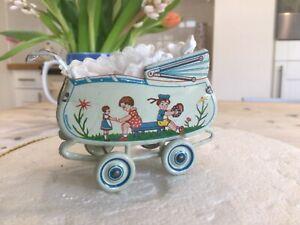 Antique vintage Miniature Doll Pram,Dolls house toy pram.tinplate toys.