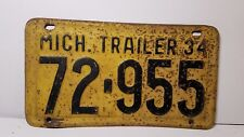 1934 ORIGINAL MICHIGAN TRAILER STATE LICENSE PLATE 72-955 VINTAGE CHEVY FORD