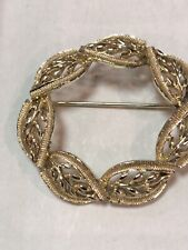Circle Wreath Brooch Pin Hi End Estate Goldtone