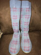 UGGS SWEATER BOOT BLUE/ROSE PLAID SIZE 7 SUPER CUTE!!