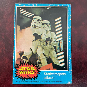 1977 Topps STAR WARS BLUE Set STORMTROOPERS ATTACK! #42 - VG-EX