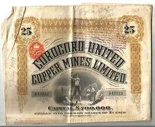 Corocoro copper mines share. London 1911. Scarce.