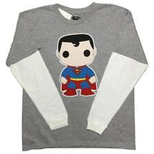 NEW SIZE 14-16 BOYS SUPERMAN POP HERO FUNNY LOMG SLEEVE YOUTH KIDS T SHIRT