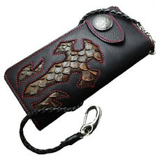 Biker Long Wallet Genuine Leather Native Design Men Rider Chain Purse Black RD-3