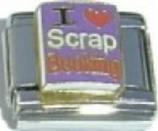 I Love Scrap Booking Red Heart 9mm Italian Charm Fits Standard Bracelet