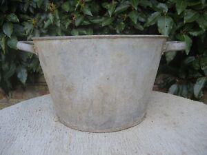 Vintage Galvanised Garden Planter Tin Bath 34 cm Diameter (516)