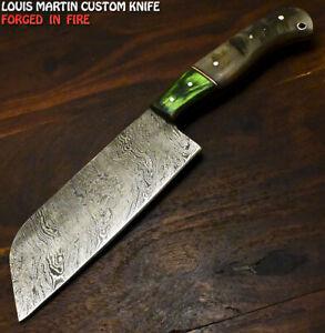 Louis Martin Handmade Damascus Steel Ram's Horn Hunting Chef Knife