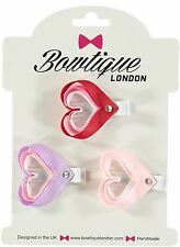 HANDMADE HAIR CLIP SET OF 3 HEARTS BY BOWTIQUE LONDON