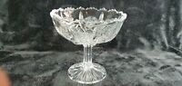 """NEAR MINT EAPG: """"PANELED THISTLE""""  Pressed Glass 5"""" Sawtooth Edge Compote"""