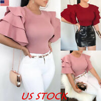 Women Bell Short Sleeve Ruffled Crew Neck Blouse Tops Ladies Fashion T Shirt USA