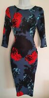 Womens Phase Eight Blue Red Floral Ruched Sides Stretch Jersey Bodycon Dress 8.