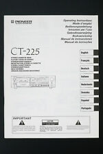 original PIONEER ct-225 stéréo cassette deck mode d'em Ploi / USER MANUAL