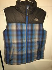 Boys The North Face Gray / Blue Plaid 550 Puffer Vest Zip Size M 10/12