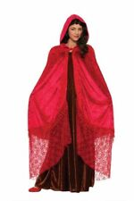 Medieval Fantasy Elegant Cape Ruby Red Lace Hood Adult Women Victorian Costume