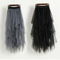 Casual Womens Chiffon Tulle High Waist Pleated Tutu Skirt Ladies Midi Dresses UK