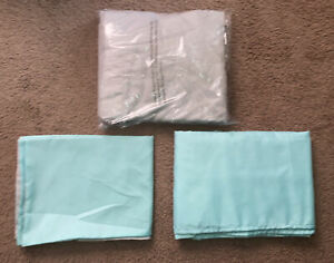 Turquoise Gray Bedding Set Queen Size Flat Fitted 2 Pillow Cases Shams Bed Aqua