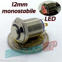 PULSANTE SPST 12mm MONOSTABILE LED DC ROSSO ottone cromato illuminato unipolare