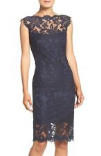TADASHI SHOJI ILLUSIONS YOKE EMBROIDERED LACE SHEATH NAVY DRESS sz 14