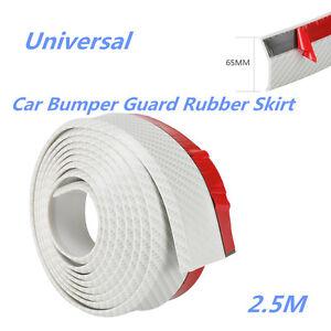 DIY White Car Front Bumper Spoiler Lip Rubber Protector Anti Scratch Decor Strip