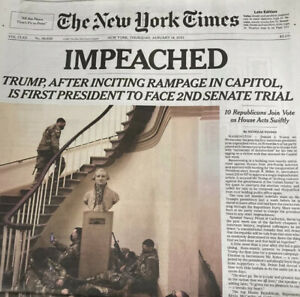 The New York Times Thursday January 14 2021 TRUMP IMPEACHED 2ND TIMES, Newspaper