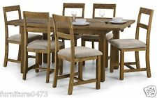 Solid Pine Extending Dining Table W140 + 40cm & 6 Dining Chairs ASTON